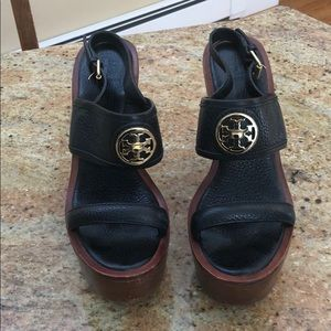 Tory Burch black pebbled leather wedge sandals
